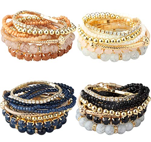 Milacolato 4 Set Braccialetti Impilabili per Donne Braccialetti con Perline a più Strati Braccialetti Elasticizzati Stile Boemo