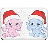 hooya Elefantes para bebés navideños Alfombrillas para Entrada Interior al Aire Libre Garaje Patio Áreas de Alto tráfico Alfombras para Zapatos