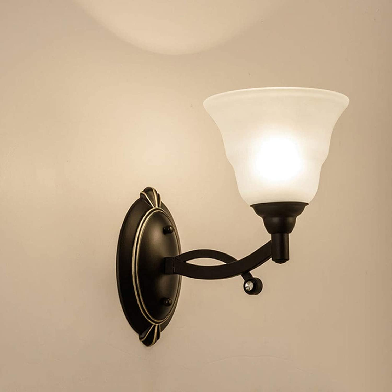 Amerikanische wandleuchte retro einzigen doppelkopf restaurant foyer wohnzimmer lampe innenflur schlafzimmer nachttischlampe dekorative lampe (Farbe   Single head)
