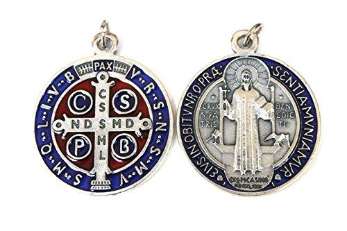 Cross My Heart Colgante de 32 mm con medalla de San Benito de plata, metal rojo y azul esmaltado