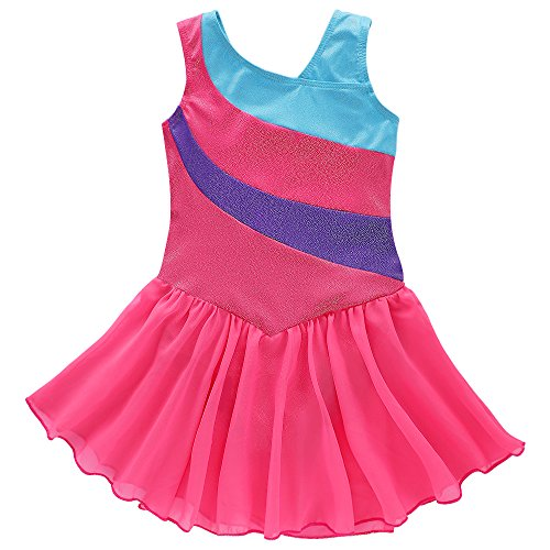 Kidsparadisy Wrap Skirted Leotard for Girls Ribbon, Hotpink, Size 110(3-4Y)