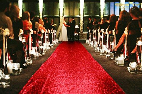 ShinyBeauty Sequin Aisle Runners 2Ft x 15Ft Red Carpet Runner for Party Glitter Runner for Wedding N116