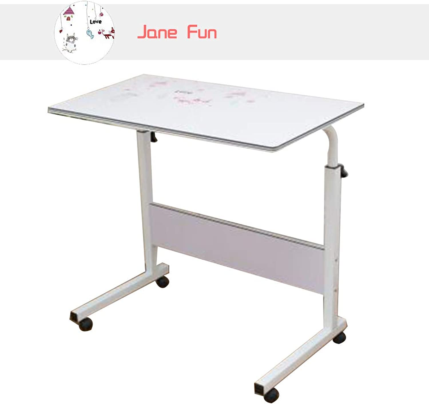 Coffee Table Side Table, 80  40cm Simple Lifting Laptop Table It Can Move Height Adjustable Lazy Table, 3 colors (color   Jane Fun)