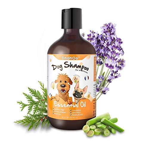 Dhohoo Hunde-Shampoo für Allergien und Juckreiz mit ätherischem Öl, natürliche Inhaltsstoffe, Hunde-Shampoo für stinkende Hunde, Linderung von trockenem Juckreiz, gesundes Haarwachstum (473 ml)