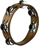 Meinl Percussion CTA2WB Holz-Tambourine mit Edelstahlschellen Durchmesser) walnut braun