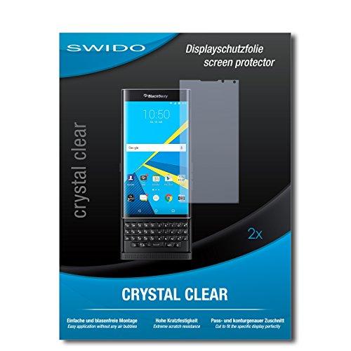 SWIDO Schutzfolie für BlackBerry Priv [2 Stück] Kristall-Klar, Hoher Festigkeitgrad, Schutz vor Öl, Staub & Kratzer/Glasfolie, Bildschirmschutz, Bildschirmschutzfolie, Panzerglas-Folie