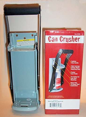 """""""ABC Products""""- Heavy Constructed - Easy Pull - Aluminum Can Crusher - Built-In Bottle Opener in Bottom - Crushes Up to 16 Oz. Aluminium Cans - Wall Mount - (With Cushion Grip Handle)'m"""