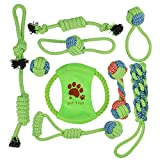 Aritan Dog Rope Chew Tug Toys, Set of 9 Heavy Duty Teeth Cleaning Assortment for Small Medium Large Pet Breeds
