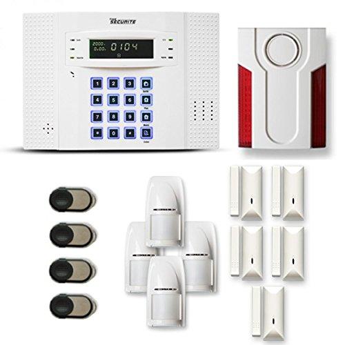 Alarme Maison sans Fil DNB 4 à 5 pièces Mouvement + Intrusion + sirène extérieure - Compatible Box Internet et GSM