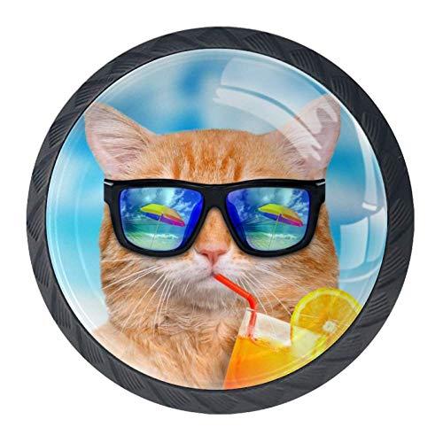 DEYYA Cooper Girl Hello Summer Funny Cat Crystal Glass Cabinet Door Knobs Pulls Handles Ergonomics Drawer Handles 4pcs