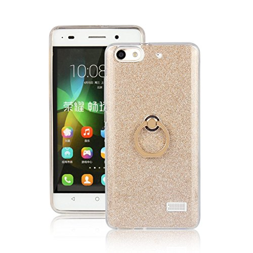 pinlu Funda Para Huawei G Play Mini/Honor 4C Anti-Arañazos Función Flash Brillante Suave TPU Silicona Case Ultra Delgada Hebilla del Anillo Soporte Diseño Gold