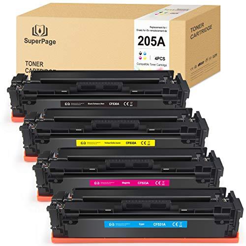 4 Superpage Compatibile per HP CF530A CF531A CF532A CF533A 205A Colori Toner Sostituzione per HP Color Laserjet M154A M154NW M180 M180N M181 M181FW Stampanti(1 Nero/1 Ciano/1 Magenta/1 Giallo)