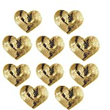 Ximkee Pack of 10 Shiny Heart Sequins Iron on Applique Embroidered Patches-Gold