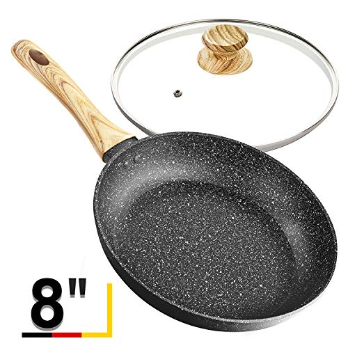 8 Inch Frying Pan with Lid, Stone Nonstick Frying Pan with Bakelite Handle, Stone-Derived Non-Stick Granite Small Frying Pan, Black Stone Nonstick Frying Pan with Lid - 8 Inch