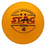 Stag Two Star Plastic Table Tennis Ball, 40mm Pack of 12 (Orange)
