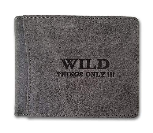 Herren Geldbörse Geldbeutel Portemonnaie WILD THINGS ONLY !!! grau Leder