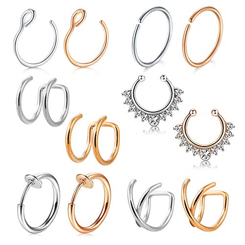 D.Bella Fake Nose Ring Hoop, 12pcs Rose Gold Silver Faux Fake Lip Ear Nose Septum Ring Non-Pierced Clip On Nose Ear Rings