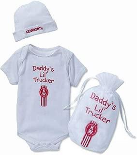 KW Kenworth Daddy's Little Trucker Baby Infant Shirt and Beanie Gift Set Size 6 Months White