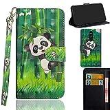 Ooboom LG Stylus 4/LG Stylo 4/LG Q Stylus Hülle 3D Flip PU Leder Schutzhülle Handy Tasche Hülle Cover Ständer mit Kartenfach Trageschlaufe für LG Stylus 4/LG Stylo 4/LG Q Stylus - Panda Bambus