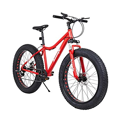 hosote Fat Tire Mens Mountain Bikes, 26 inch 7 Speed Double Disc Brake Snow Bike, Suspension Fork High-Carbon Steel Frame Sand Bike