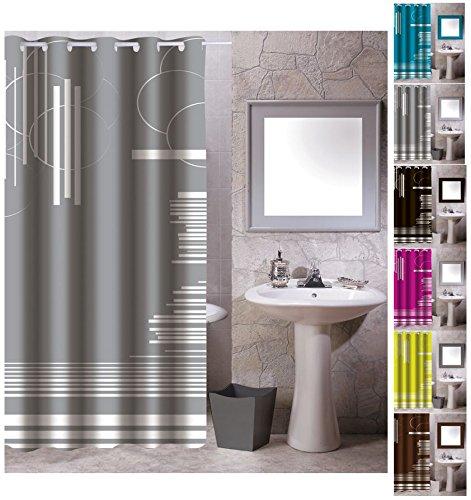 "MSV Anti-Schimmel Textil Duschvorhang - Anti-Bakteriell mit 12 Duschvorhangringen - Polyester, ""Graphics"" Grau, 180x200cm"