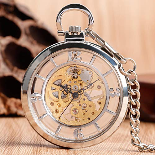 XTQDM Reloj de Bolsillo,Reloj de Bolsillo mecánico de Cuerda Manual con Esfera de Esqueleto Hueco Plateado Relojes Steampunk Fob para Hombre Plata