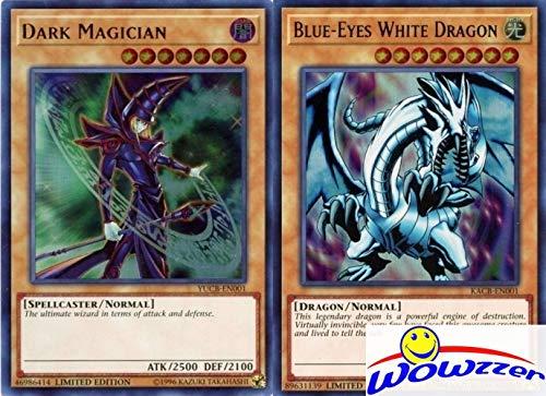 Yugioh Jumbo Oversized 2 Card Set - Blue-Eyes White Dragon & Dark Magician MINT