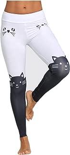 vermers Hot Sale Women Leggings Yoga Sport Pants - Fashion Mid Waist Cat Print Color Block Skinny Pants