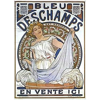 Tbdiberc Retro Advertising Posters Bleu Deschamps Nouveau Art Ads Classic Art Printing Posters Canvas Vintage Poster Home Bar Decor Gift-50X70Cmx1 No Frame