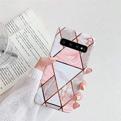Kompatibel mit Samsung Galaxy S10 Hülle,Handyhülle Galaxy S10 Case Rosa Marmor Muster Ultradünn TPU Silikon Hülle Schutzhülle Weiche Crystal Clear Silikon Bumper Rückschale Case Cover,Design D
