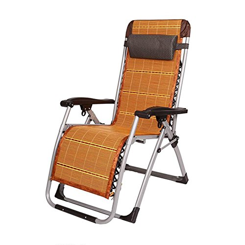 Xiaolin Chaise de Bureau Pliante Chaise de Pause déjeuner Chaise de Femmes Enceintes âgées Recliner de Camping en Plein air (Couleur : Black+Bamboo Mat)