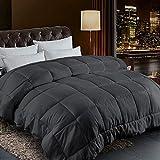 Comforter Queen Size All Season Reversible Down Alternative Dark Grey Duvet Insert with Corner Tabs - Quality Winter Warm Soft Comforter and Hypoallergenic (Dark Grey,Queen,88'x88')