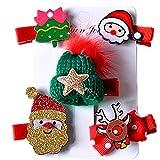 Fontee Baby 5 piezas decoraciones Navidad Pinzas cabello para niñas Horquillas Accesorios para niñas, árbol