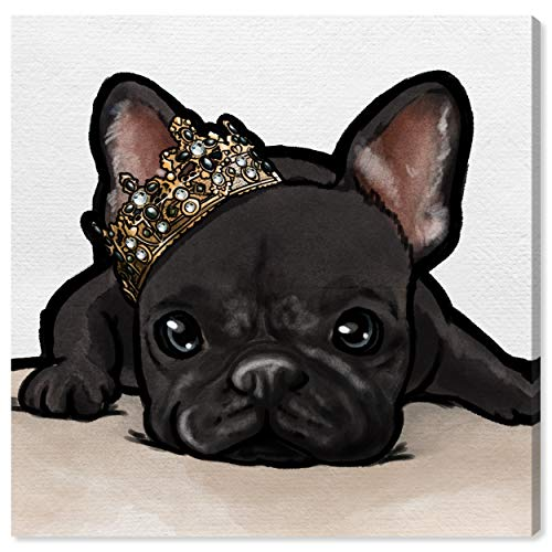 The Oliver Gal Artist Co. Animals Wall Art Canvas Prints 'Royal Frenchie Grey' Home Décor, 20' x 20', Black, Brown