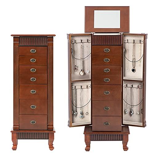 Jewelry Cabinet Jewelry Chest Jewelry Armoire Wood Jewelry Box Storage Stand Organizer with Side Doors Drawers Makeup Mirror (7 Drawers)