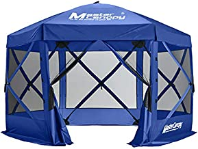 MASTERCANOPY Escape Shelter, 6-Sided Canopy Portable Pop up Canopy Durable Screen Tent Bug and Rain Protection (7-9 Persons), (140''x140'', Blue)