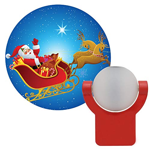 Projectables 11360 Santa & Reindeer LED Plug-In Night Light, Auto On/Off, Light Sensing, Projects Christmas Image of Santa Claus and Reindeer on Ceiling, Wall or Floor