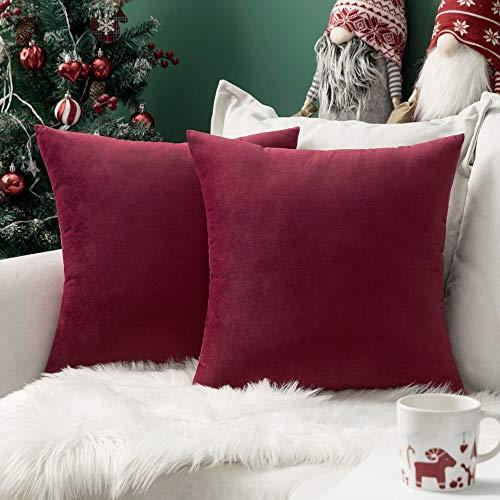 MIULEE Confezione da 2 Federe in Velluto Copricuscini Decorativi Fodere Quadrate per Cuscino per Divano Camera da Letto Casa40X40cm Vino Rosso