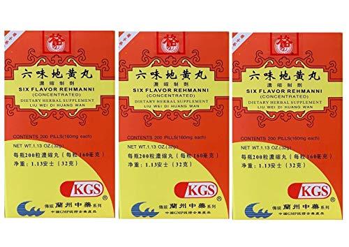 Six Flavor Rehmanni, Liu Wei Di Huang Wan (200 Pills) - 3 Bottles