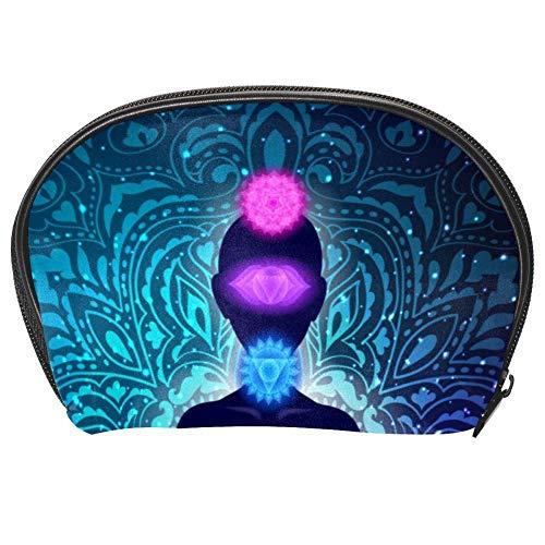Bennigiry Meditating Woman In Lotus Yoga Pose Coloridos Chakras y Aura Glow Mandala Neceser Organizador para Mujeres Kit de Viaje con Cremallera Multifunción Neceser Bolsa de Almacenamiento