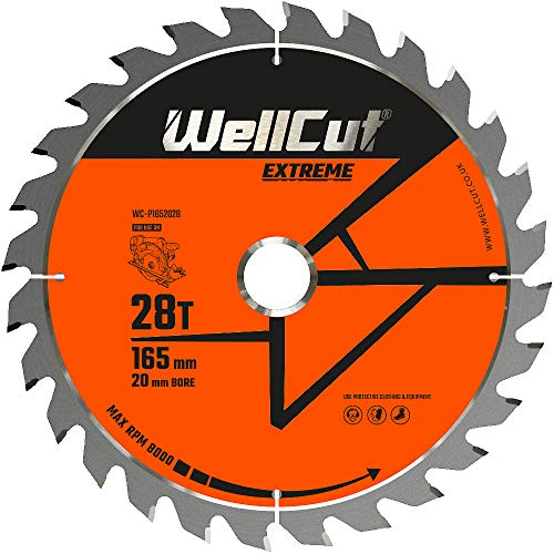 WELLCUT WC-P1652028 TCT zaagblad 165mm x 28T x 20mm Boor