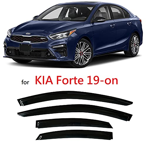 Smoke Tinted Tape-On Side Window Vent Visor Deflectors Rain Guards Compatible with Kia Forte 2019 2020 2021 2022 EX FE GT LINE LXS