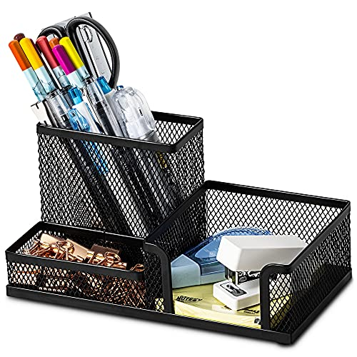 Deli Mesh Desk Organizer Office Supplies Caddy with Pencil Holder and Storage Baskets for Desktop...