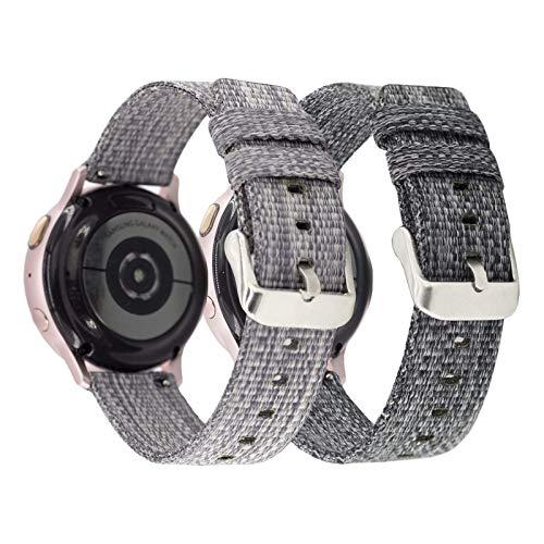 Mtozon Bandas compatibles con Samsung Galaxy Watch 3 41 mm Band/Galaxy Active 2 40 mm 44 mm/Active 40 mm Watch/Galaxy Watch 42 mm Bandas, 20 mm de lona de repuesto, gris y carbón