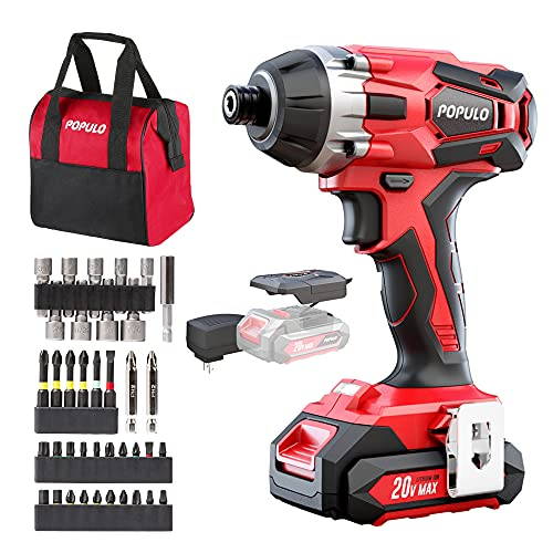 Impact Driver Kit, 1770 in-lbs 20V Max Lithium Ion Cordless 1/4' Hex Impact Drill, 0-2900RPM Variable Speed, Battery, Fast Charger, 39 Piece Impact Drive Bits and Tool Bag Included. Populo CIDL-2003