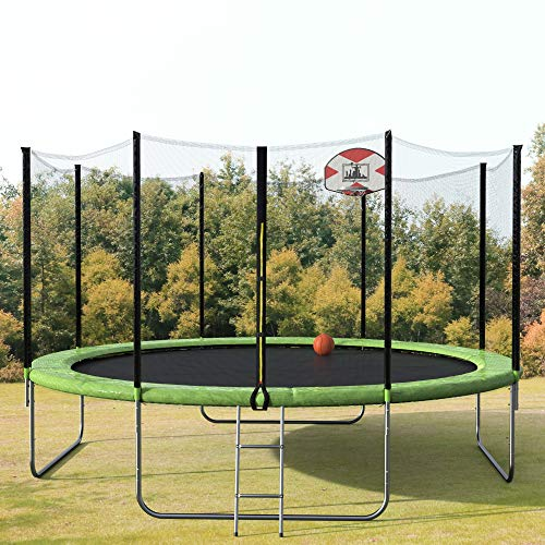 14-Feet Round Trampoline with Safety Enclosure, Basketball Hoop and Ladder, 14-Foot Trampoline with Enclosure Net, Jumping Mat, Safety Pad, Ladder and Backyard Trampolines, TÜV Certificated Very Safe