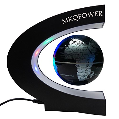 Levitation Globe with LED, Floating Globe with LED Light Rotating Magnetic Mysteriously Suspended in Air World Map as Desk Decoration,Great Teachers'Day, Christmas Gift (Cold)