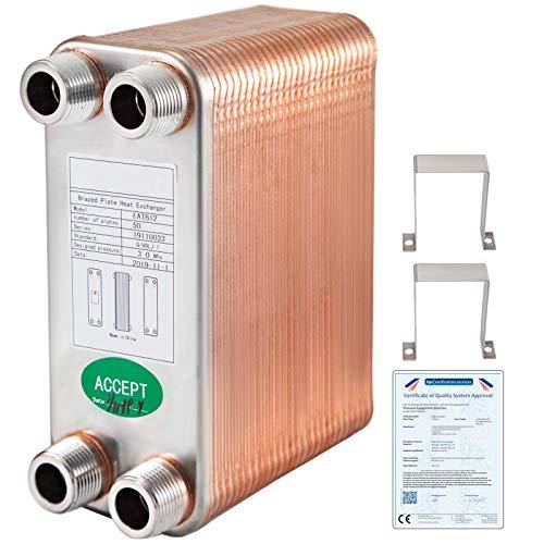 VEVOR Scambiatore di Calore 50 Piastre Scambiatore di Calore per Riscaldamento EATB12 Scambiatore di Calore Piastre in Acciaio