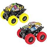 m zimoon Monster Truck, tirare indietro i veicoli auto di attrito 360 gradi di inerzia rotante auto giocattoli per ragazzi ragazze bambino (2 pezzi, rosso giallo)