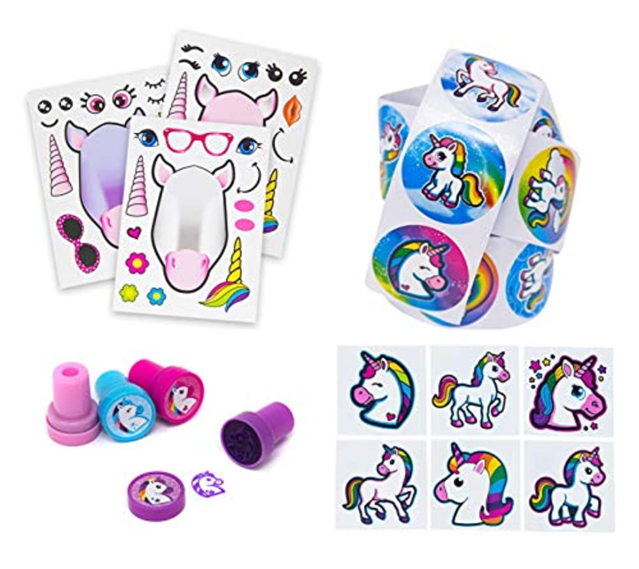 Unicorn Party Favors & Activity Set - 24 Make A Unicorn Stickers, 24 Unicorn Stampers, 1 Sticker Roll & 72 Temporary Tattoos - Done For You Favor Set That Will Be A Hit At Any Girls Birthday Party!